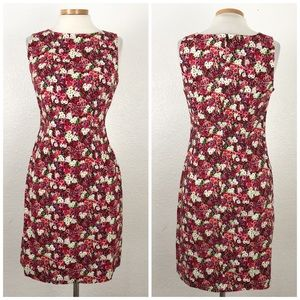 CDC | 90's Red Pink Floral Midi Shift Dress